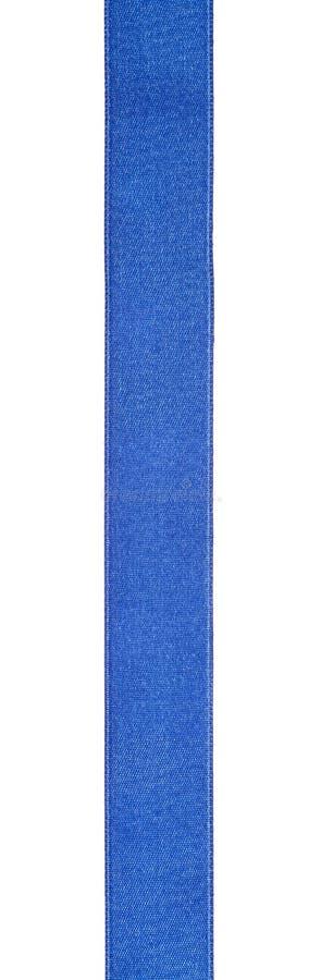Breed blauw die zijdelint op wit wordt geïsoleerd royalty-vrije stock afbeeldingen
