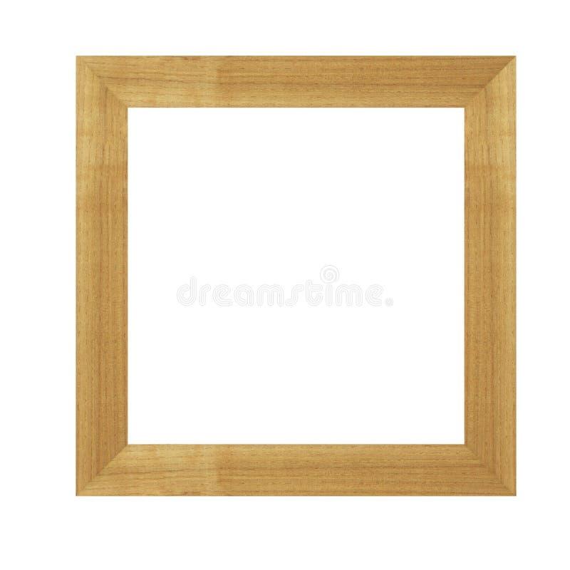 Breed bruin houten die kader voor beelden en foto's op witte achtergrond worden geïsoleerd royalty-vrije stock afbeeldingen