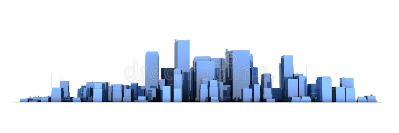 Breed Cityscape 3D Model - Glanzende Blauwe Stad stock illustratie