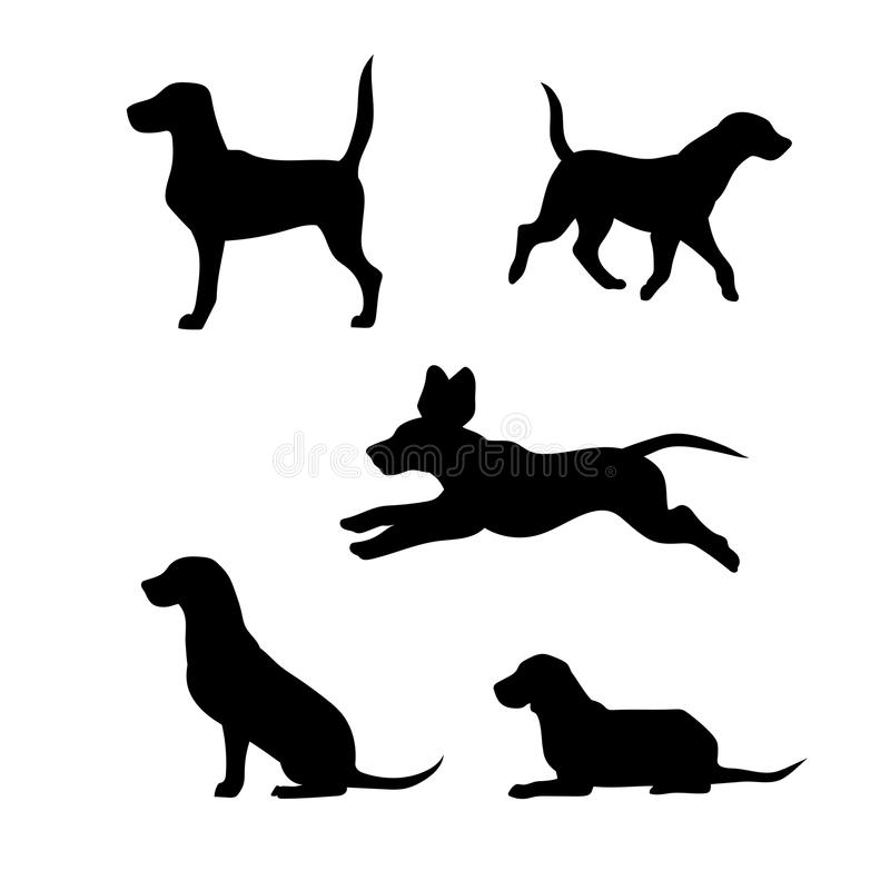 Breed Of A Dog Beagle Vector Silhouettes Stock Vector
