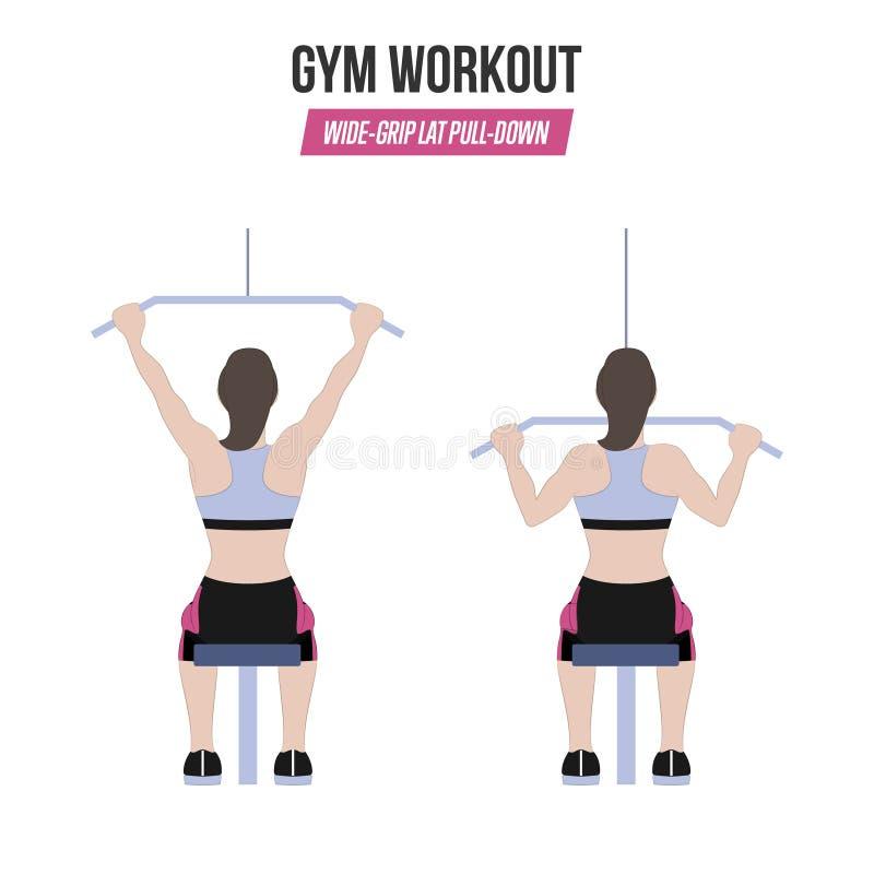 Breed-greep lat pull-down oefening Atletische oefeningen Oefeningen in een gymnastiek workout Illustratie van een actieve levenss stock illustratie