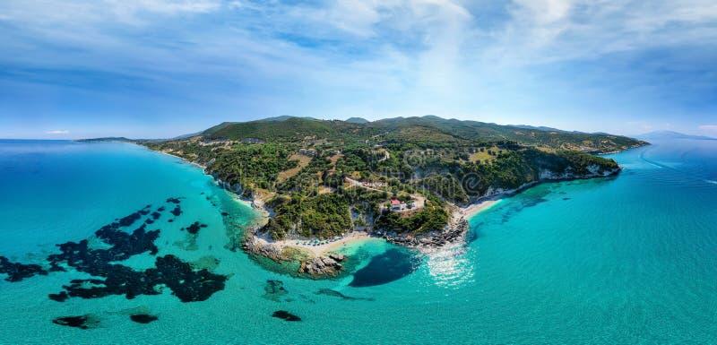 Breed luchtpanorama van Xigia-Strand op het eiland van Zakynthos, Ionische Overzees, Griekenland stock fotografie