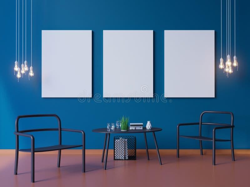 Breed modern blauw behang en de binnenlandse 3d illustrator van de lay-outdecoratie stock illustratie