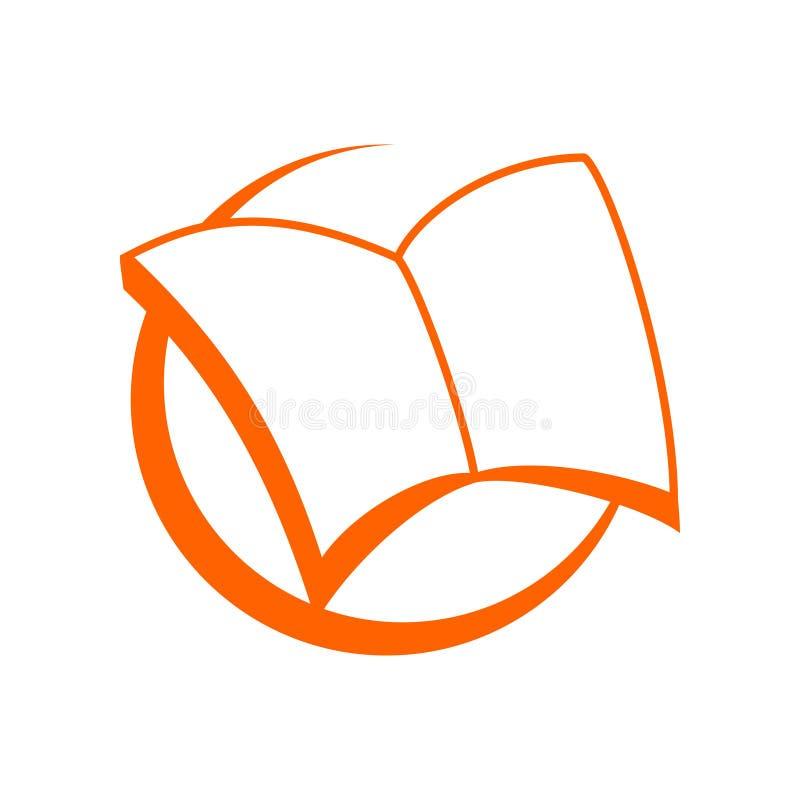 Breed Open Boeksymbool Logo Design vector illustratie