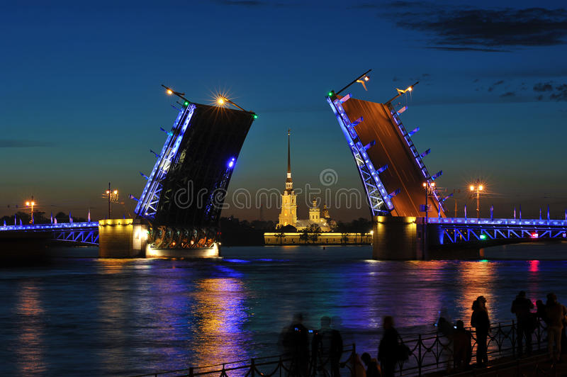 The breeding of the Palace bridge.White nights. In St. Petersburg, Russia royalty free stock images