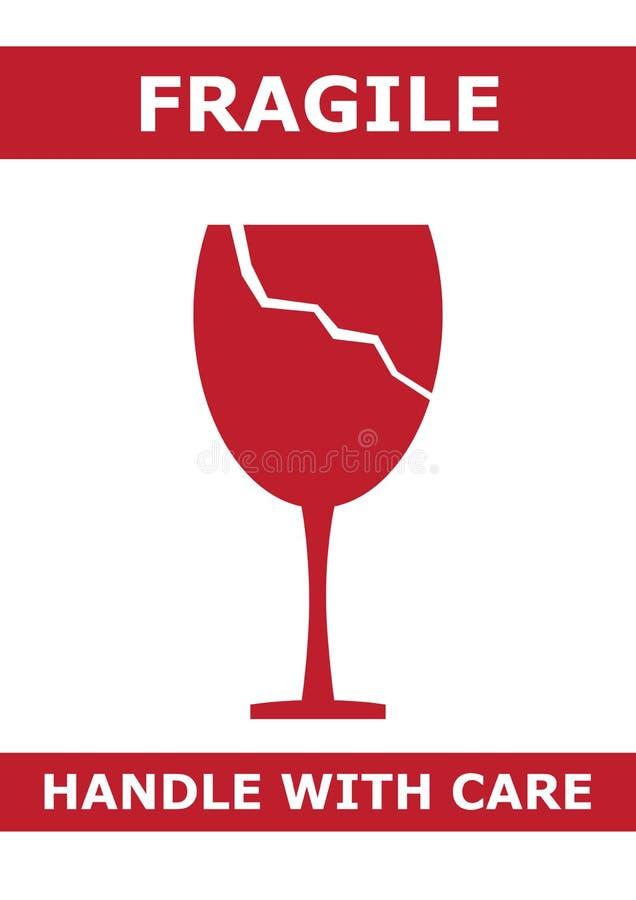 Breekbaar Embleem met Gebroken Glasillustratie stock afbeelding