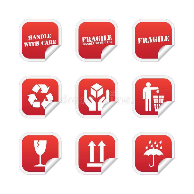 Breekbare stickers stock illustratie