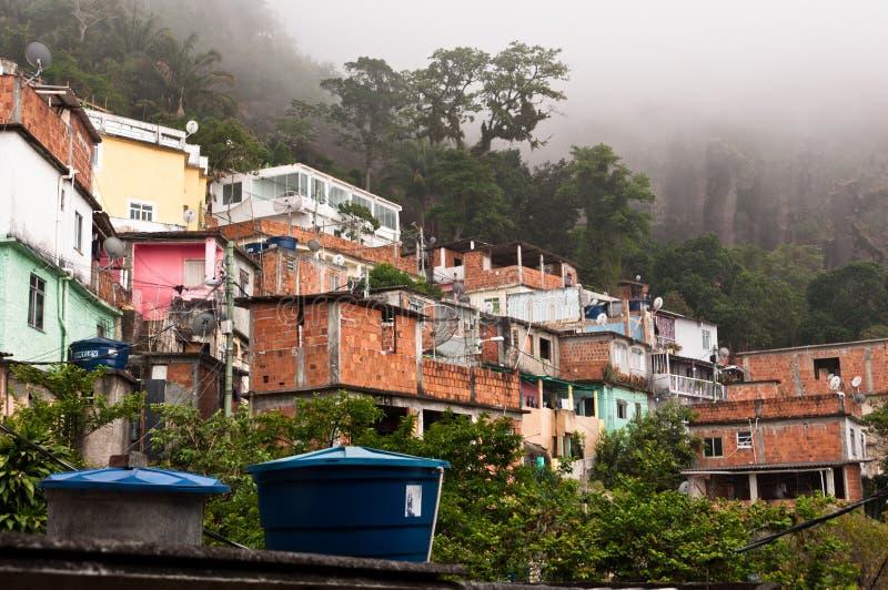 Breekbare woonbouw van favela Vidigal in Rio de Janeiro royalty-vrije stock afbeelding