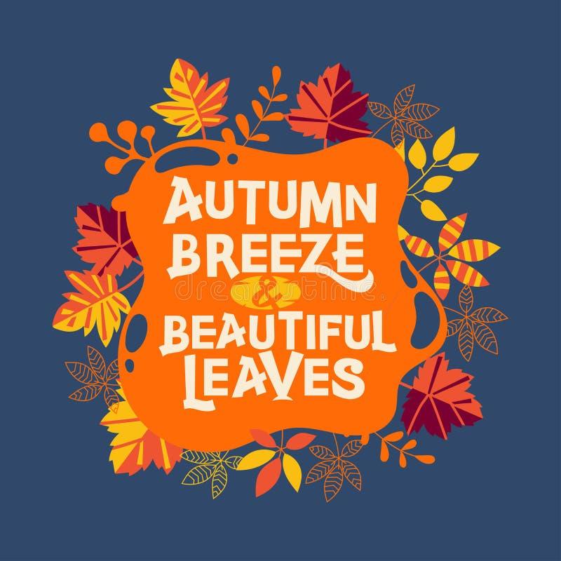 Breeze d'automne et belles feuilles. Carte de voeux d'automne avec devis photos libres de droits