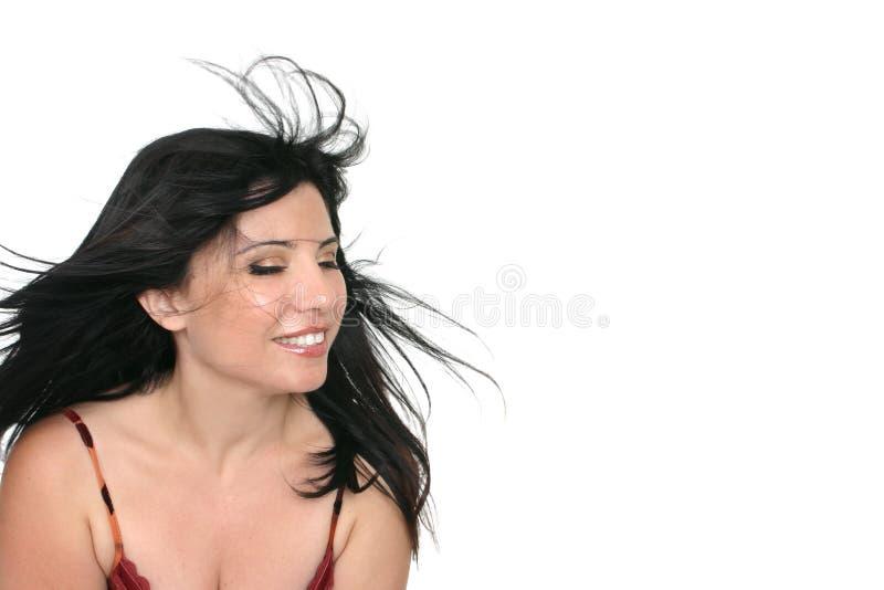 breezy brunettkvinna royaltyfri bild