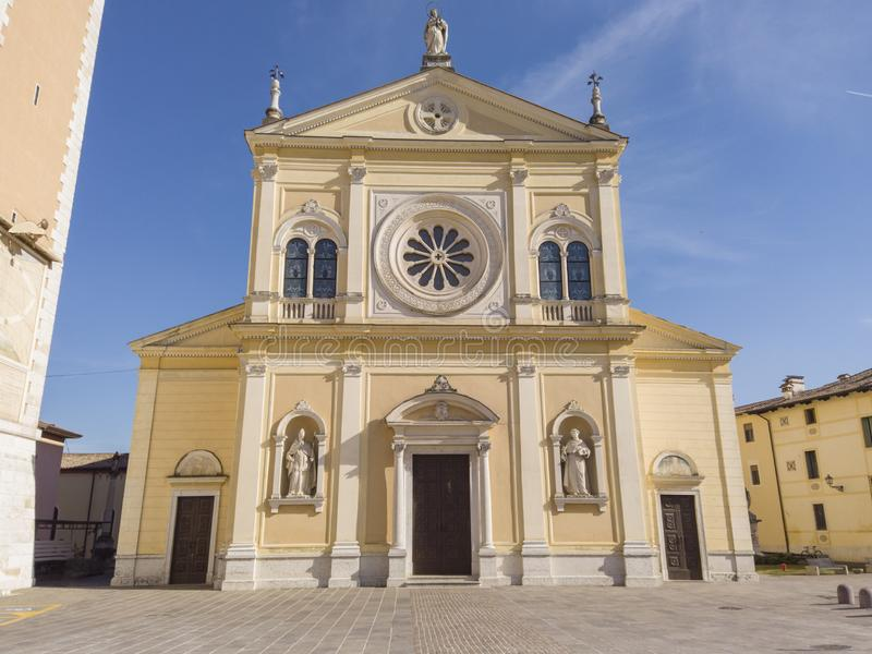 Breganze, Vicenza, Italy. The main church and the clock tower royalty free stock photo