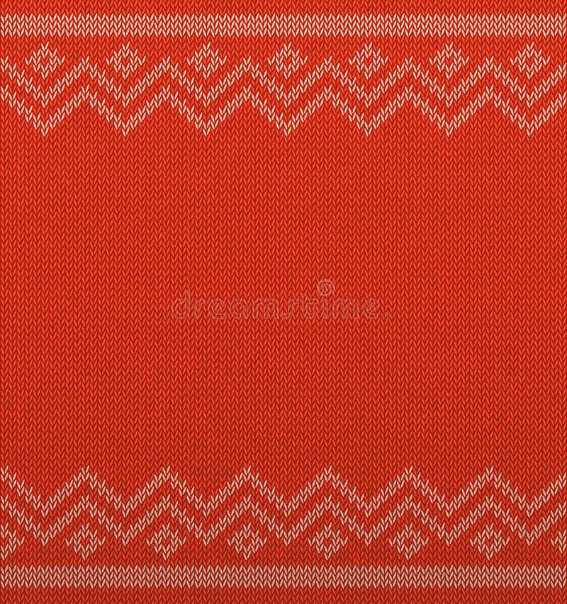 Brei Kerstmis geometrische ruimte als achtergrond voor tekst Realistisch Kerstmis horizontaal naadloos vectorpatroon Gebreide de  stock illustratie