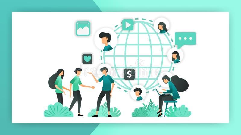 Breid netwerk marketing uit krijg om vele mensen van over de hele wereld te kennen de uitgespreide invloed aan markt en bevordert vector illustratie