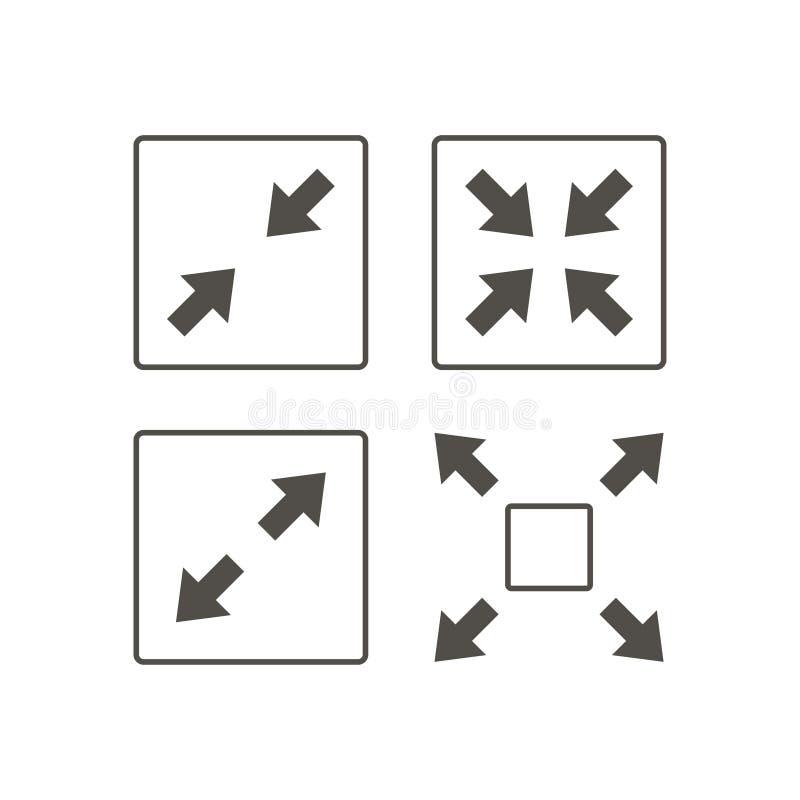 Breid Pijlenpictogram uit Vlak grijs pictogramsymbool binnen een rond gemaakt geregeld kader Zwart, grijs, Pijlenvector vector illustratie