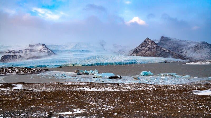 Breidamerkurjokull glaciär i Island arkivfoto