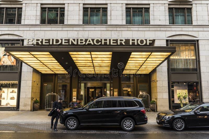 Breidenbacher Hof旅馆在杜塞尔多夫,德国 库存照片