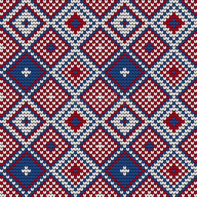 Breiend patroon met diamanten voor Lelijke Sweater stock illustratie