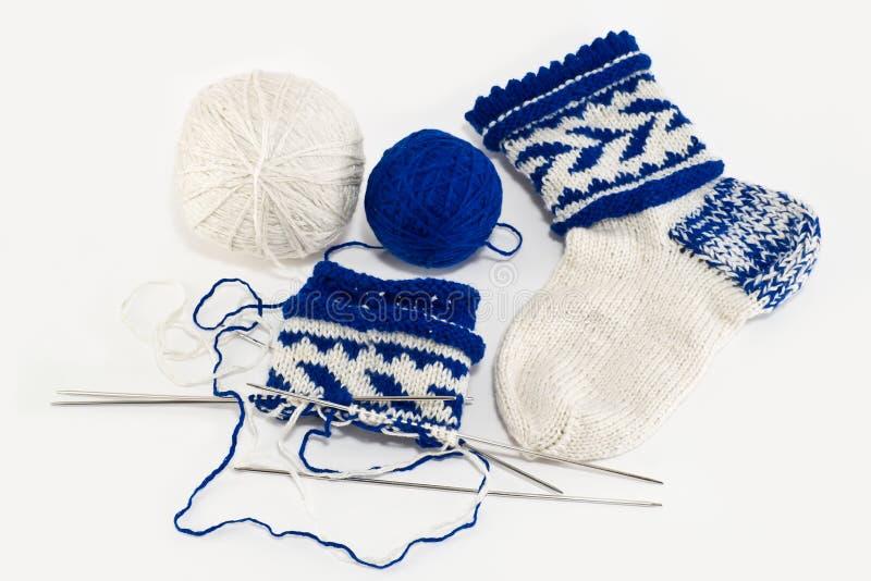 Breiende sokken, hobby stock afbeeldingen