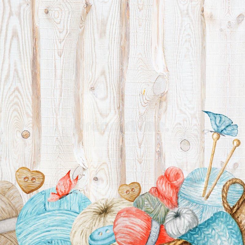 Breiende Winkelbanner, het Brandmerken, Avatar - naalden, garens, knoop Voor brei ambachten, hobby Illustratie voor met de hand g royalty-vrije illustratie