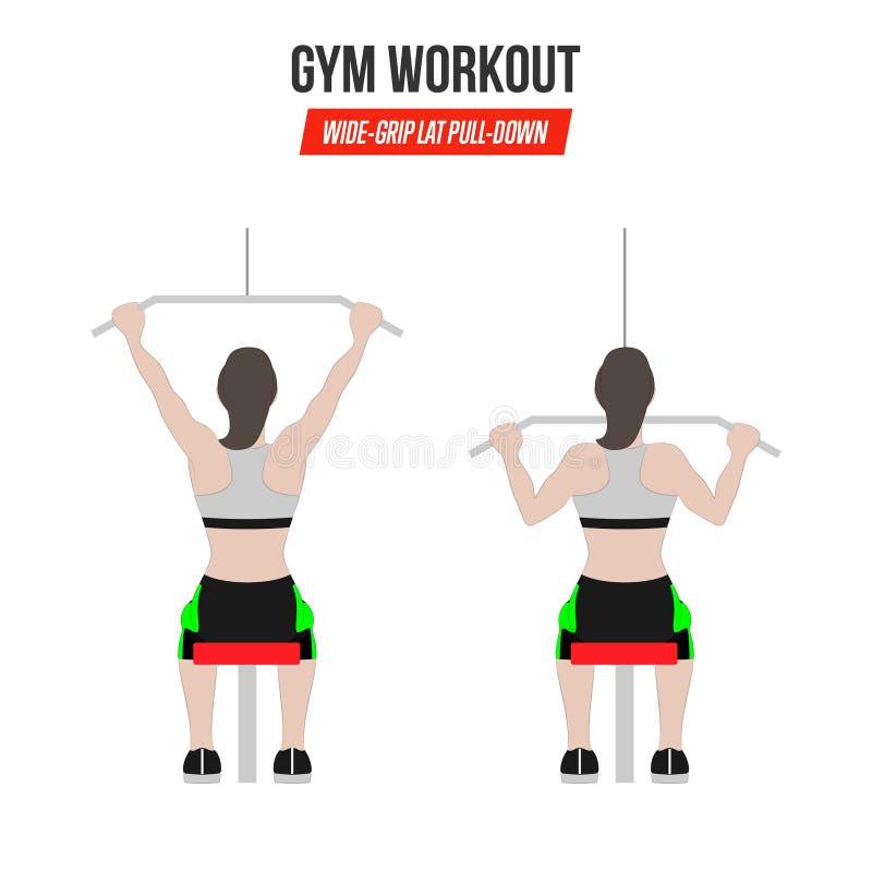 Breit-Griff Lat-Zug-untenübung Athletische Übungen Übungen in einer Turnhalle workout Illustration eines aktiven Lebensstil Vekto lizenzfreie abbildung