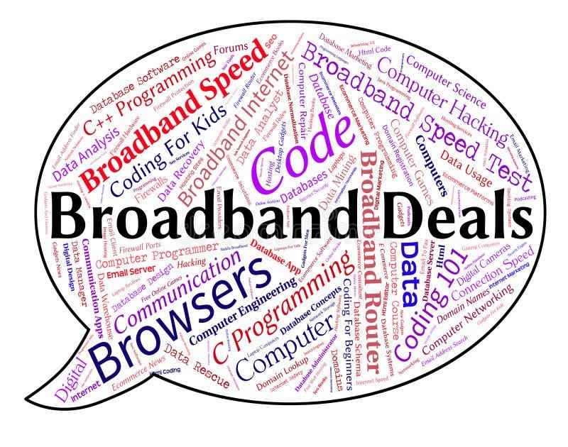 Breitband-Angebote zeigen World Wide Web und Vereinbarung an stock abbildung