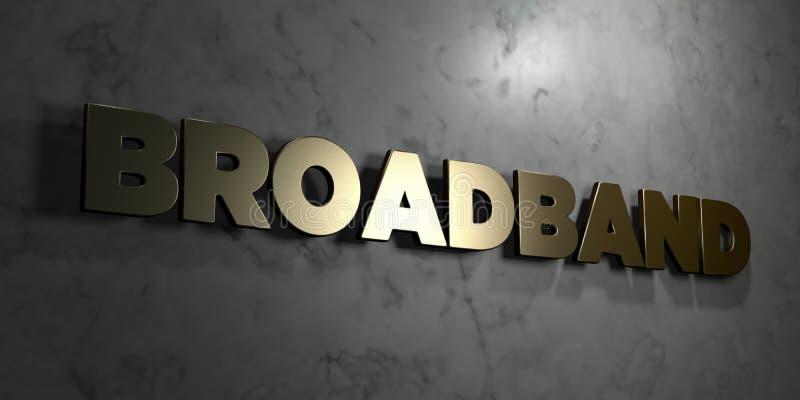 Breitband- Goldzeichen angebracht an der glatten Marmorwand - 3D übertrug freie Illustration der Abgabe auf Lager lizenzfreie abbildung
