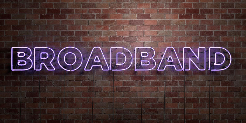 BREITBAND- Leuchtstoffneonröhre-Zeichen auf Maurerarbeit - Vorderansicht - 3D übertrug freies Bild der Abgabe auf Lager stock abbildung