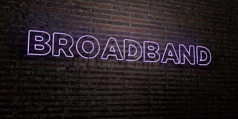BREITBAND- realistische Leuchtreklame auf Backsteinmauerhintergrund - 3D übertrug freies Archivbild der Abgabe stock abbildung
