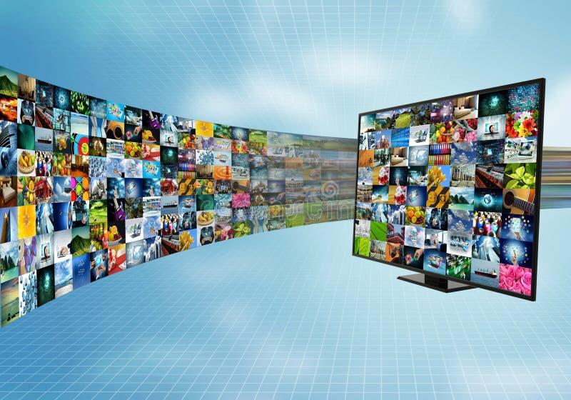 Breitband- und intelligente Fernsehunterhaltung des Internets lizenzfreie abbildung