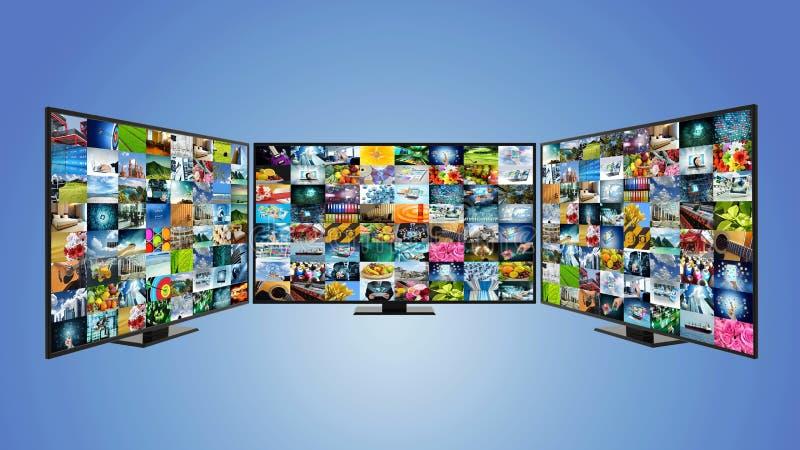 Breitband- und intelligentes Fernsehkonzept des Internets lizenzfreie abbildung