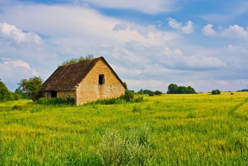 Breite Ansicht der Landschaft des alten ruinierten Hauses mit Bäumen hinten Landwirtschaftliche Sommerlandschaft Europäisches Hir stockbilder