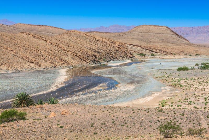 Breite Ansicht der Schlucht und der bebauten Felder und der Palmen in Errachidi stockfotos