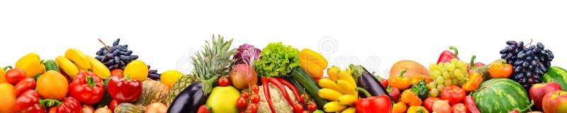 Breite Collage von frischen Obst und Gemüse von für den Plan lokalisiert lizenzfreies stockfoto
