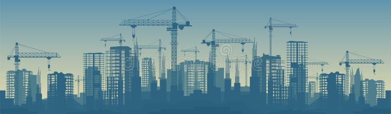 Breite Fahnenillustration von Gebäuden im Bau im Prozess stock abbildung