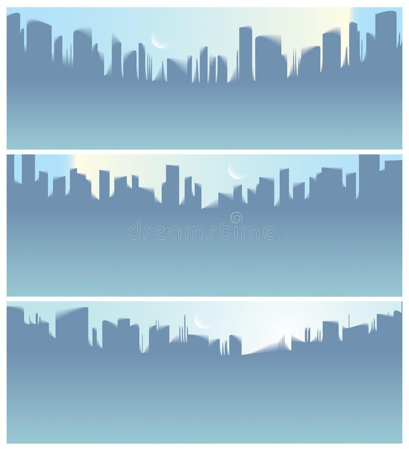 Breite Panoramastadtwolkenkratzer silhouettiert Skylinevektor-Illustrationssatz stock abbildung
