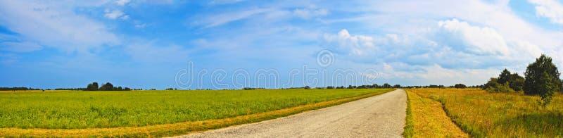 Breite Straßenansicht der panoramischen Landschaft mit Bäumen hinten Landwirtschaftliche Sommerlandschaft Typische europäische Hi lizenzfreie stockbilder