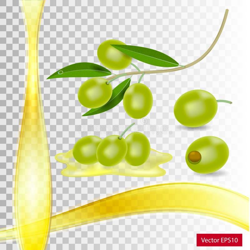 Breiten Sie sich mit grünen Oliven aus stock abbildung