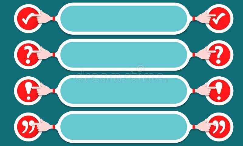 Breitenauswahlkästchen mit vier Textboxen, Ausrufezeichen, Fragezeichen stock abbildung