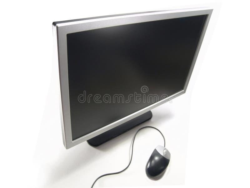 Breiter Bildschirm LCD-Computer-Überwachungsgerät und Maus lizenzfreie stockfotos