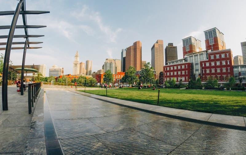 Breiter Schuss eines Parks in Boston eingelassen der Nachmittag stockfotos