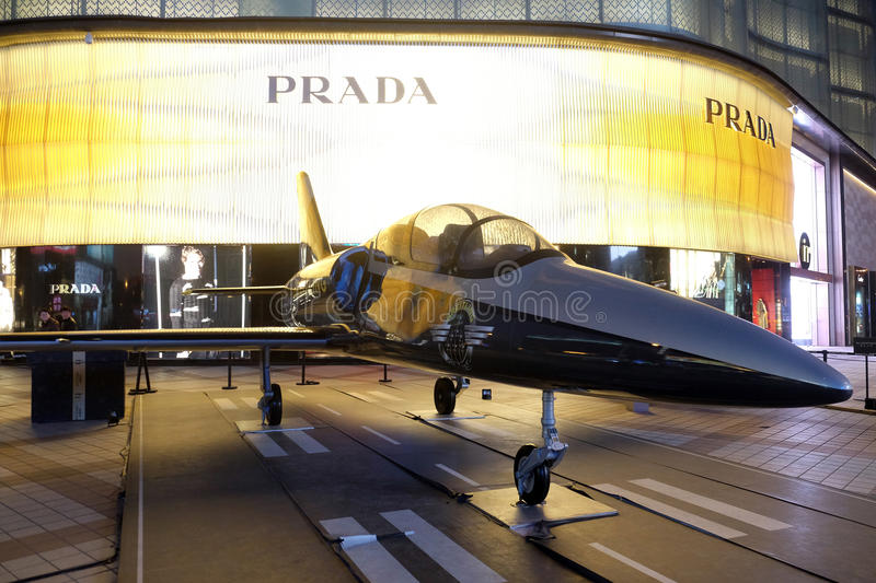 Breitling model aircraft on display outside Italian apparel and accessories house Prada in Beijing. China royalty free stock images
