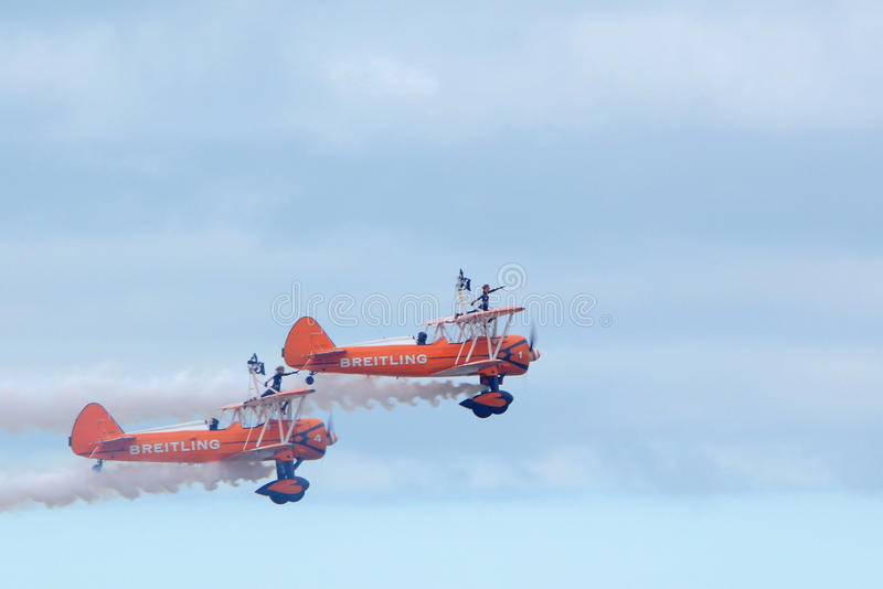 Breitling wing walkers at Blackpool air show stock photography