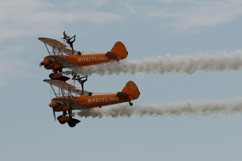 Breitling Wingwalkers at Airbourne 2015 royalty free stock image
