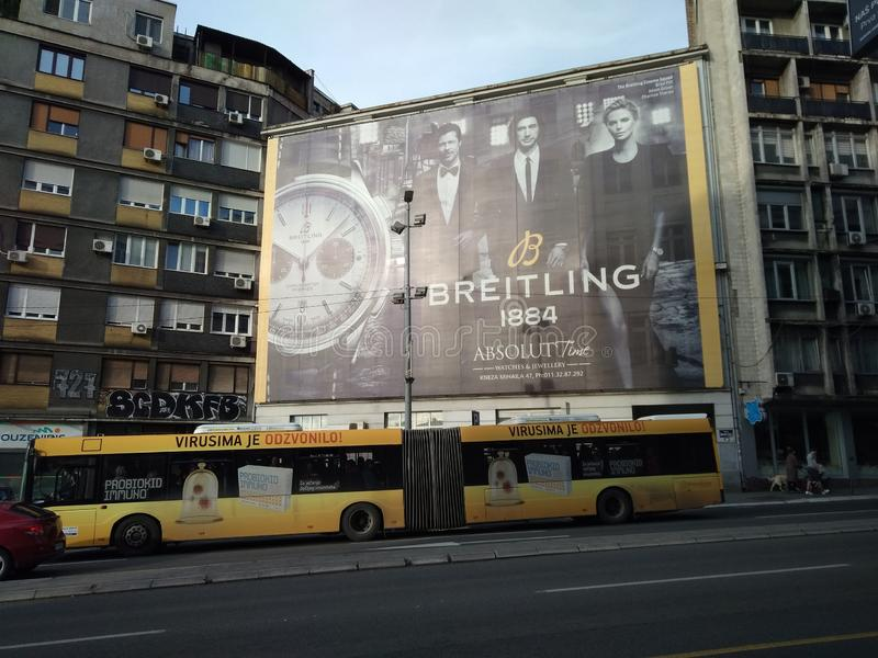 Breitlings-Anschlagtafel in Belgrad, Serbien stockfotografie