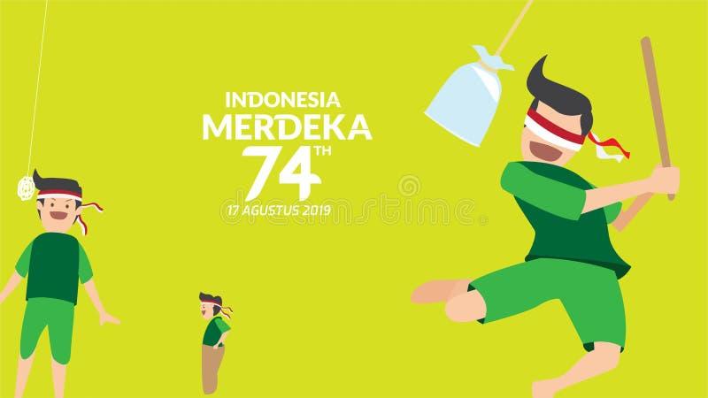 Breken de traditionele spelen van Indonesië tijdens onafhankelijkheidsdag, de waterballon met uw gesloten ogen, Cracker het eten, vector illustratie