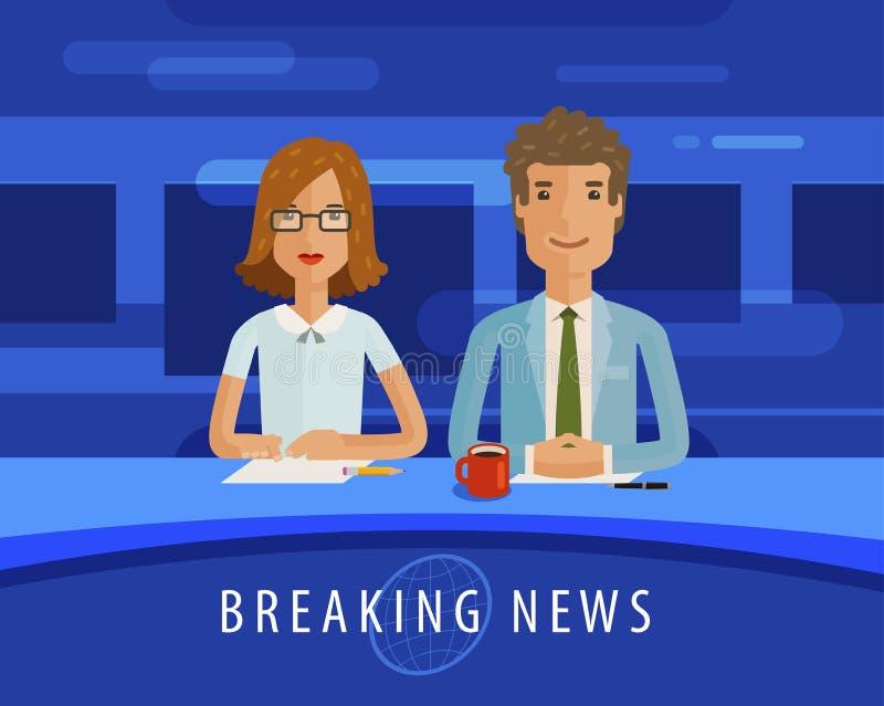 Brekend nieuws Anchorman op TV-uitzendingstelevisie, journalistiek, massamediaconcept Vector vlakke illustratie vector illustratie