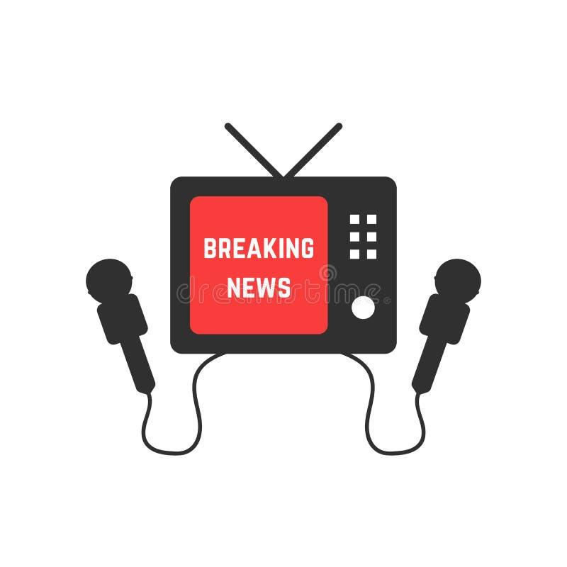 Brekend nieuws met zwarte TV en microfoon vector illustratie