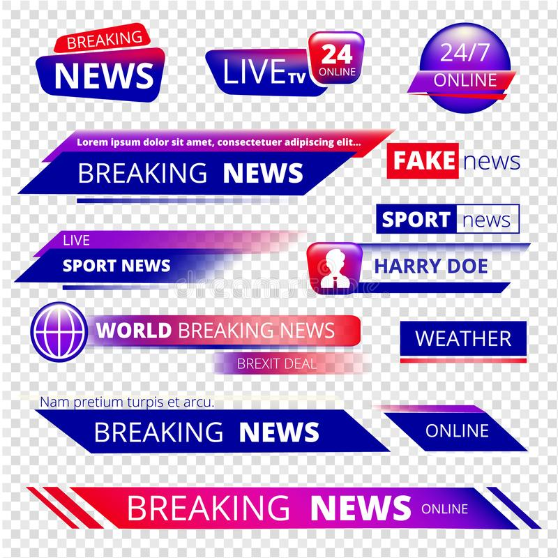 Brekend nieuws Televisiekanaal het uitzenden de banners vectormalplaatje van het de dienst grafisch hoofddeksel stock illustratie