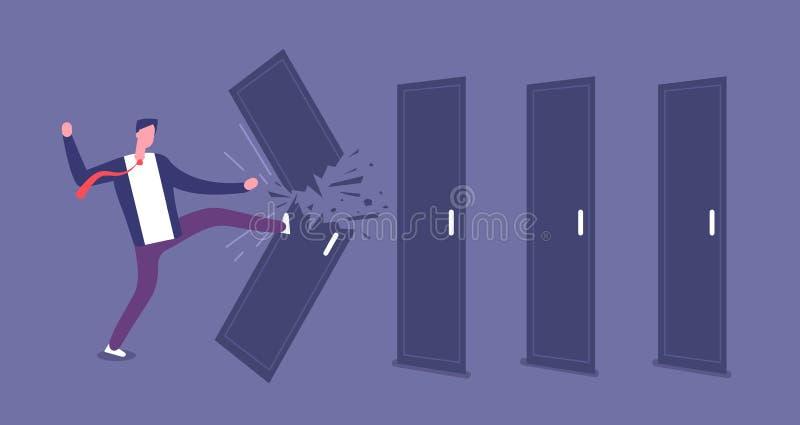 Brekende deur De krachtige zakenman overbrugt barrières, wegversperring Grof geweld en uitdagings vectorconcept stock illustratie
