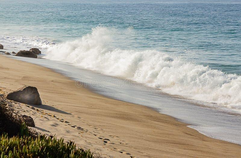 Brekende golf met backspray op een zandig strand met keien en iceplant, met een oceaanuitgestrektheidshorizon stock fotografie
